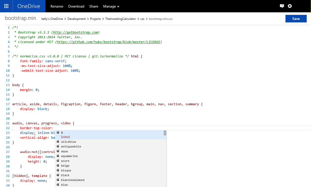 edit html css and javascript files in the cloud using onedrive onedrivewebediting