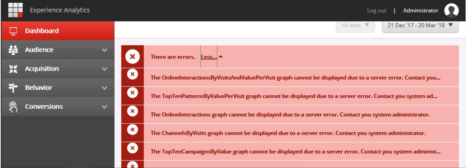 Experience Analytics Errors