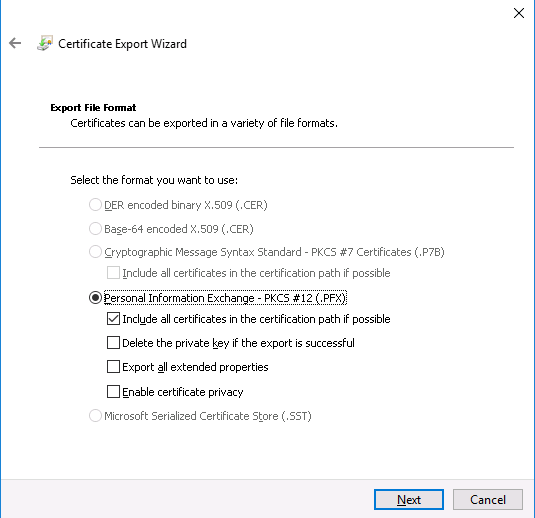 Export Cert as PFX